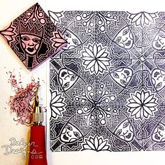Julie Fei-Fan Balzer pattern from carved stamp