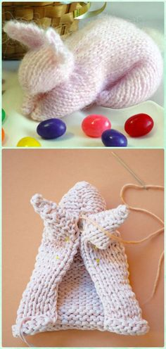 DIY Knit Square Bunny Instruction