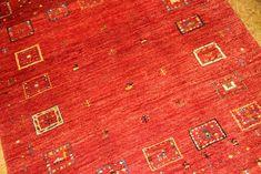 赤いギャッベ手織りペルシャ高級ラグウール925500