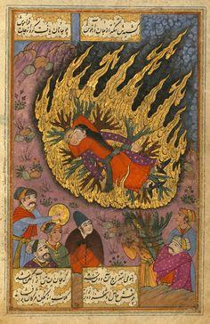 A Hindu girl throws herself on the funeral pyre of her betrothed, from the poem Sūz va gudāz (Burning and Melting) by Nawʿī Khabūshānī, illuminated by Muḥammad ʿAlī Mashhadī, Iran, 1657