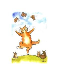 Funny Cat Greeting Card  Cat Art  Cat Juggling by tylersworkshop, $3.50