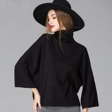 Branco preto Cinza Vinho Tinto Mulheres Camisola de Gola Alta 2016 Outono Inverno Celebridade Haute Couture Ocasional Pullover de Malha(China (Mainland))