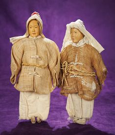 Rare Pair of Chinese Door of Hope Dolls in Mourning Costume