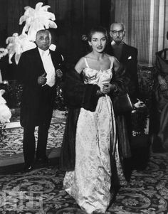 Callas with her dad on the right  (very very rare) Her husband/agent is on her left