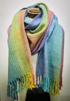 """Alpaca Rainbow"". 2.2m. Towel Twill weave structure. 50% Alpaca, 40% Merino, 10% Silk.  Handmade from Alberta raised alpaca and hand dyed in studio. Handwoven fabric created on a loom at Cloth of Kin Weaving Studios. (Made in Canada)"