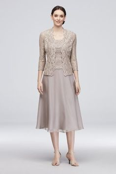 Dainty floral lace tops the bodice and matching jacket of this short A-line tank dress, while a chiffon skirt drapes gracefully below. By Alex Evenings Polyester, nylon, spandex Back zipper; Mother Of Groom Dresses, Mothers Dresses, Bride Dresses, Tea Length Dresses, Formal Dresses, Mom Dress, A Line Gown, Two Piece Dress, Lace Tank
