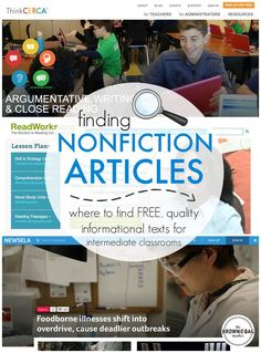 Great websites for finding Nonfiction Articles for Middle Grades. Perfect for Close Reading! (The Brown-Bag Teacher)