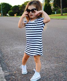 This stylish striped girls dress is a classic Beau Hudson look that is a favorite because it can be dressed up or worn casual and looks great both ways! It fits true to size and is very soft to the touch. Girls Fashion Clothes, Baby Girl Fashion, Toddler Fashion, Kids Fashion, Autumn Fashion, Toddler Girl Style, Toddler Girl Outfits, Kids Outfits, Cute Outfits