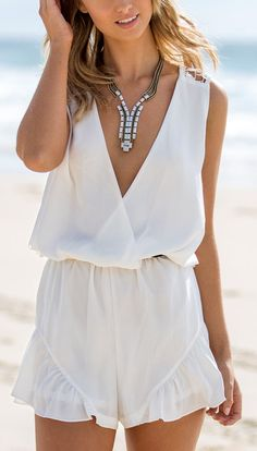 White romper + vee necklace
