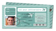 Invitation anniversaire billet d'avion