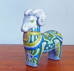 #Aries Statue Hand Painted Art Pottery by embeehat on Etsy