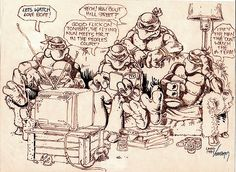 The 2007 sale of the complete original art from Teenage Mutant Ninja Turtles #1 for a reported $250,000 underscores the tremendous interest in Eastman and Laird's earliest work. Description from gogreenmachine.org. I searched for this on bing.com/images