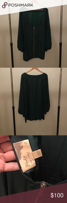 Elizabeth and James Forest Green Low back Dress Beautiful rich, deep forest green dress with low back Dresses Mini