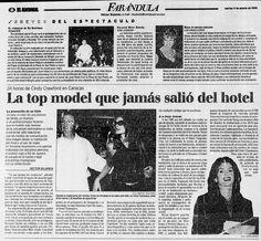 Cindy Crawford estuvo en Caracas y jamás salió del hotel. Publicado el 4 de agosto de 1998.