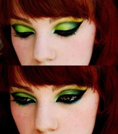green and yellow eyeshadow makeup red hair