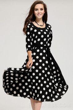 polka dot fabulosos vestidos de mangas medio Estilo máximo