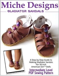 Fisherman Sandals Purple Green 18 in Doll Clothes Fits American Girl