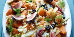 Salade de patates douces, fenouil, figues, olives noires, feta, orange et aneth