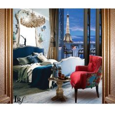 Cobalt blue. Velvet textures. Soft pastel walls. Pop of red. Love the chandelier idea. Very romantic!