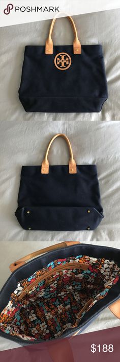 Tory Burch Jaden tote Super cute... only real signs of wear r on the handles but even then VERY little... no stains on the inside and no real wear on the canvas... hardware in pristine condition Tory Burch Bags Totes
