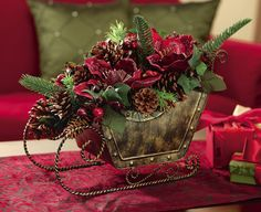 Last Trending Get all christmas sleigh table decorations Viral s l Christmas Flower Arrangements, Holiday Centerpieces, Christmas Flowers, Christmas Tree Decorations, Christmas Wreaths, Christmas Sleighs, Christmas Greenery, Table Decorations, Rustic Christmas