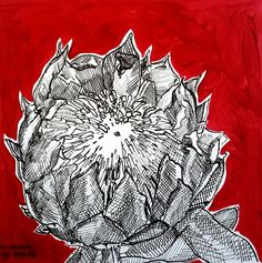 Hermien Van Der Merwe;  Title: Fynbos:  Table Mountain Fynbos 4 Medium: Pen-and-Ink drawing on paper with oil paint background Size: 200 x 200mm