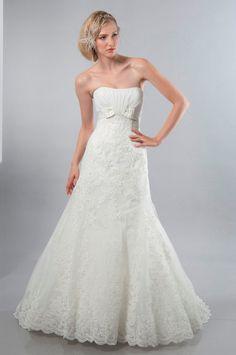 Mermaid Strapless Satin Bow Lace Applique Wedding Dress-wm0005, $284.95
