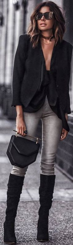 #spring #outfits black top, jacket, grey jeans, black suede boots