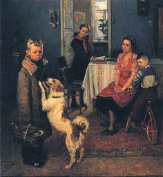 """Fyodor Reshetnikov """"Dvoika again"""" (socialist realism)"""
