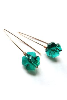 Lucky Four Leaf Clover Crystal Earrings Rose Gold por ColorMeMissy