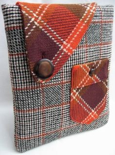 case for a tablet or reader; like the flap and plaid wool fabrics