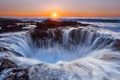Thor's Well aka Spouting Horn. Cape Perpetua, near southern Oregon. Especially amazing at high tide and winter storms.