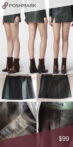 "🎉2X HP🎉Allsaints leather mini skirt size 4 Fabulous All Saints ""mini split Lucille skirt""    Size 4 - Excellent condition!!! Beautful dark olive green - perfect fall color!  100% lamb leather  Length 13.5"" Waist 30"" All Saints Skirts Mini"