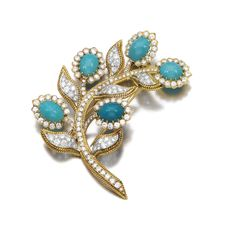 TURQUOISE AND DIAMOND BROOCH, VOURAKIS