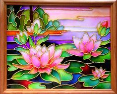 Picture. Lotuses. | Hand painted stained glass. Colorful rainbow.
