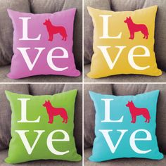 Husky LOVE pillow. Offered in multiple colors and 50+ dog breeds. Cover is machine washable and Made in USA.
