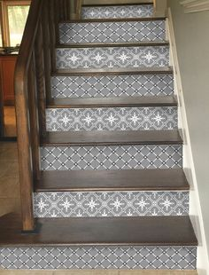 This Stair Riser Vinyl Strips Removable Sticker Peel & Stick for 15 steps GreyDuo is just one of the custom, handmade pieces you'll find in our home décor shops. Tile Stairs, Basement Stairs, Carpet Stairs, Basement Flooring, Basement Shelving, Basement Waterproofing, Hallway Carpet, Diy Flooring, Laminate Flooring