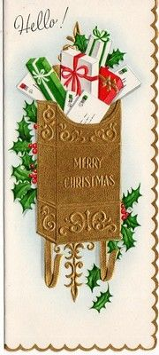 Vintage embossed Christmas card with mailbox.