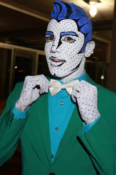 Suliman Nawid - brilliant body painter and club kid in San Francisco - pinned by… Pop Art Kostüm, Pop Art Face, Art Costume, Cool Costumes, Cosplay Costumes, Halloween Kostüm, Halloween Costumes, Comic Book Makeup, Pop Art Makeup