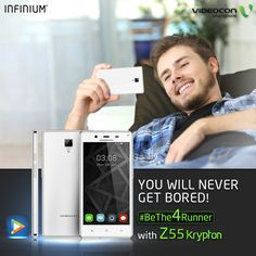 The Videocon Infinium Z55 Krypton comes pre-loaded with #Hungama the music & entertainment app to make sure you never get bored. Know more here - http://www.videoconmobiles.com/z55krypton-bethe4runner