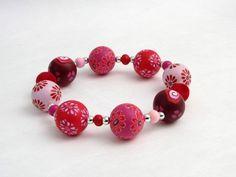 Armbänder - Erdbeer Armband Unikat Polymer Clay Fimo - ein Designerstück von filigran-Design bei DaWanda