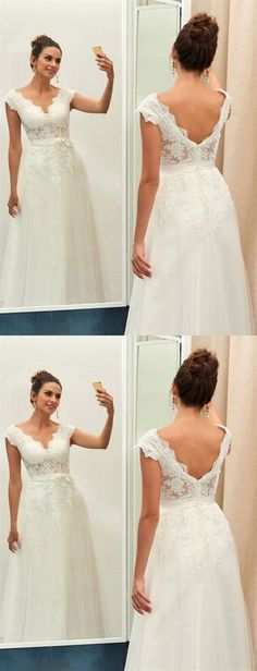 White A Line V Neck V Back Strap Lace Wedding Dresses Affordable Bride Gown - Dresses Wedding Inexpensive Bridesmaid Dresses, Cheap Wedding Dresses Online, Pink Wedding Dresses, Affordable Wedding Dresses, Cheap Prom Dresses, Bridal Dresses, Lace Wedding, Bride Gowns, Marie