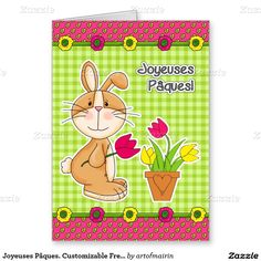 Joyeuses Pâques. Funny Easter Bunny Design Customizable Easter Greeting Cards for kids in French. Matching cards in various languages, postage stamps and other products available in the Holidays / Easter Category of the artofmairin store at zazzle.com