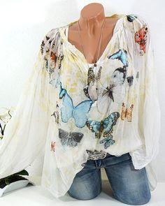 2 TLG TUNIKA BLUSE VINTAGE SCHMETTERLINGE IBIZA BATIK OVERSIZE GELB WEIß  #fashion