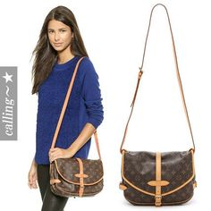 セレブ愛用者多数 ☆Louis Vuitton☆ Saumur Messenger Bag キャンバス地にコーティングを施した素材にLVロゴをプリントされた代表的なデザイン LVの定番といえるショルダーバッグです