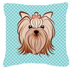 Checkerboard Blue Yorkie Yorkshire Terrier Canvas Fabric Decorative Pillow BB1142PW1414