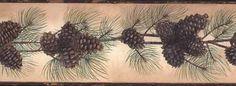Tan Rustic Pinecone Wallpaper Border BG1669BD