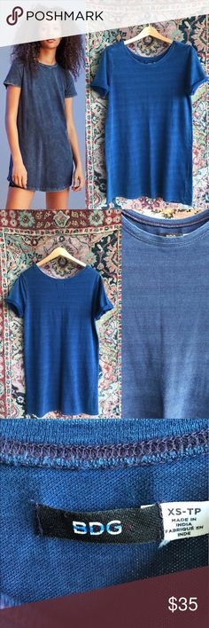 """SALE! UO BDG Striped Tee Shirt Dress BDG Morisette T-Shirt Dress. Cotton and subtle striped. A denim wash and in excellent condition. 19"""" underarm to underarm and 32"""" L Urban Outfitters Dresses Mini"""