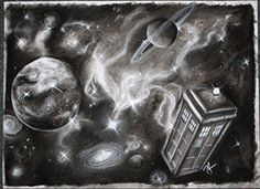 Doctor Who Tardis in charcoal by ~jacqui-kate on deviantART