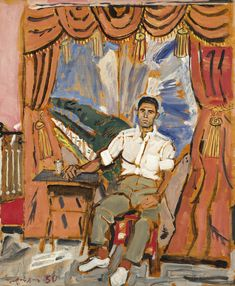View Seated man By Yannis Tsarouchis; oil on panel; 48 x cm; Access more artwork lots and estimated & realized auction prices on MutualArt. Benaki Museum, Greek Paintings, Studio Poses, Art Of Man, Byzantine Icons, Greek Art, Time Photo, Art Uk, Gay Art